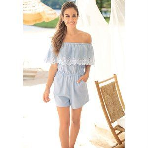 NWT! The Cutie Embroidered Chambray Short Romper